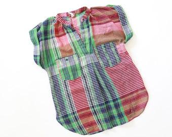 Spare parts plaid blouse | Vintage 70s paper thin cotton shirt