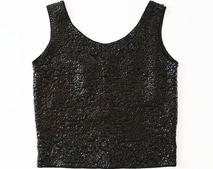 Cropped sequin tank top | Vintage 50s beaded wool top