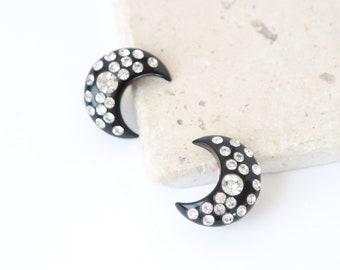 Crescent mood earrings | Vintage 40s rhinestone moon earrings | 1940s bakelite clip on moon earrings
