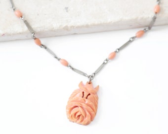 Antique vintage 40s carved bakelite rose coral necklace