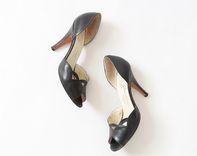 Vintage Garolini black Italian leather heels pumps Sz 6 1/2