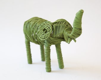 Wire Elephant  | Vintage Mid Century Modern hand made wire Elephant sculpture figure