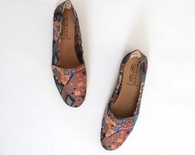 Kilim flats | Vintage 80s woven Kilim shoes | Ethnic Turkish style Kilim flats US 7 7 1/2