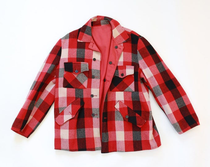 Vintage 50s Rough Rider red buffalo Plaid reversible Hunting Wool Jacket Mens XL