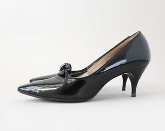 Vintage 50s 60s black bow heels pumps | pointed toe heels