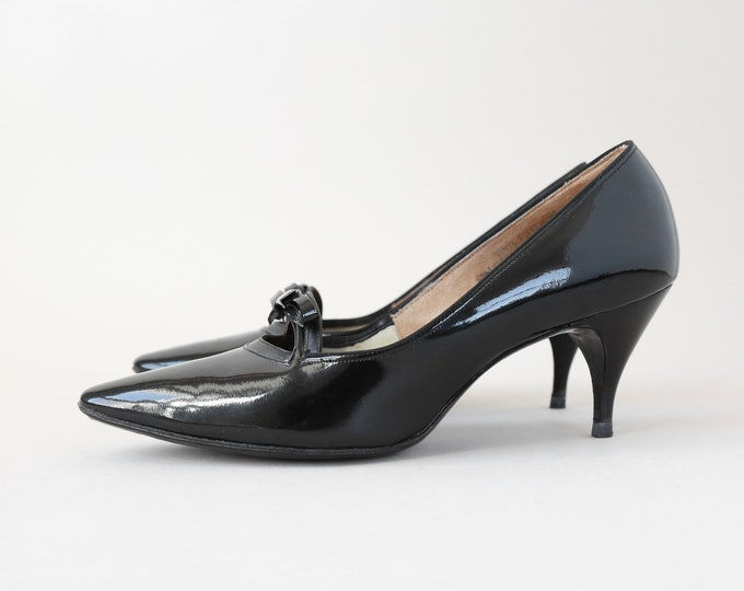 Vintage 50s 60s black bow heels pumps | pointed toe heels