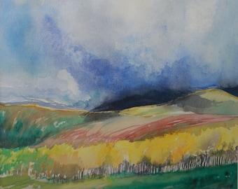 California watercolor landscape | vintage Nancy Sloan 1993 fine art watercolor painting | Framed impressionism landscape watercolor art