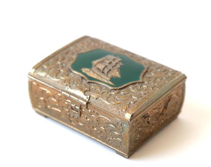 Vintage Nautical Ship enameled jewelry box