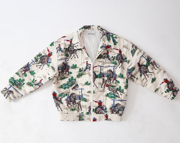 Cowboy puff Jacket | Vintage 90s Southwestern Puffer Jacket | Bomber jacket