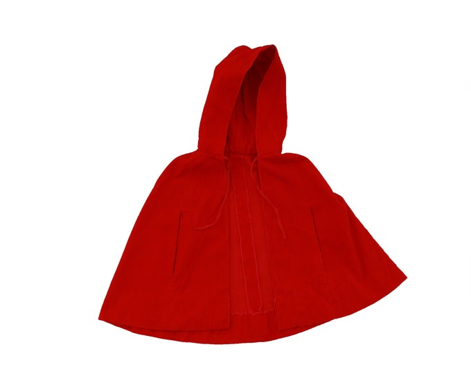 Little Red Ridding Hood Cape | Vintage 60s girls red corduroy cape