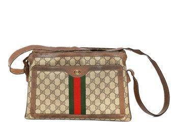 Gucci purse | Vintage 80s Gucci monogram GG shoulder bag | 1980s Gucci canvas purse