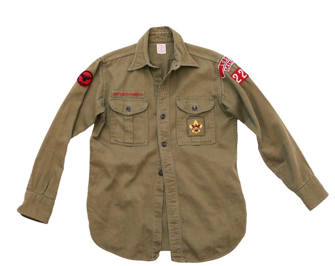 50's Patched Boy Scout Shirt | Vintage Boy Scout