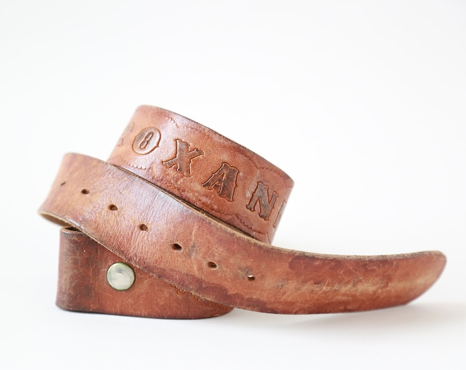 Tooled leather belt | Vintage 70s soft leather belt | Roxanne belt