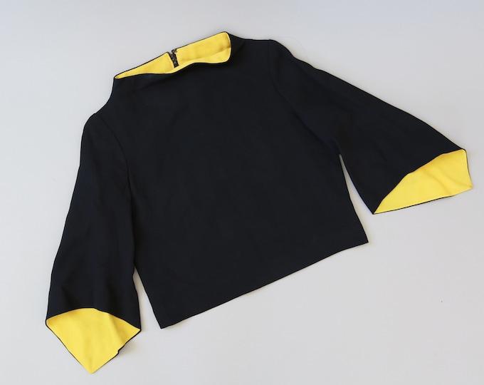 Dominique MOD crop top | Vintage 60s black + yellow blouse