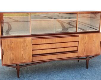 Teak Credenza | Vintage Mid Century Modern Danish Knud Nielsen for Losning Mobelfabrik Teak Credenza Sideboard buffet