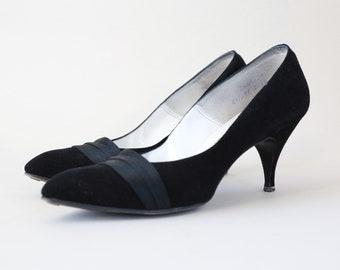 Frederick & Nelson heels | Vintage 50s black suede leather heels pumps