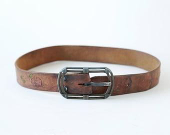Floral Tooled leather belt | Vintage 60s hand painted tooled belt | 1960s large buckle leather belt