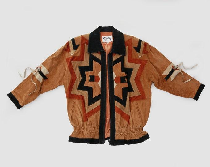 Scully southwestern leather jacket   vintage 80s  suede leather jacket   Leather tassel jacket