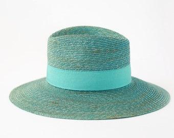 Blue straw Italian fedora market HAT