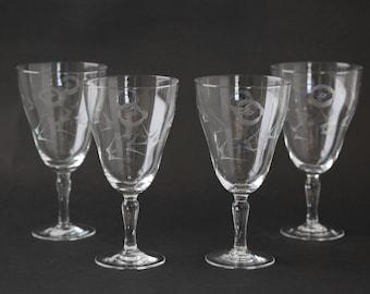 Antique 30s hand blown glasses