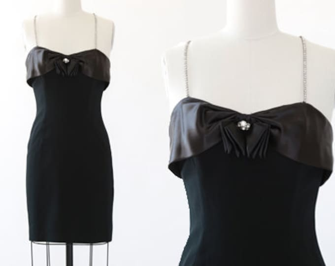 Ann Hobbs for Cattiva dress | Vintage 80s black tuxedo rhinestone mini dress | Saks Fifth Avenue dress