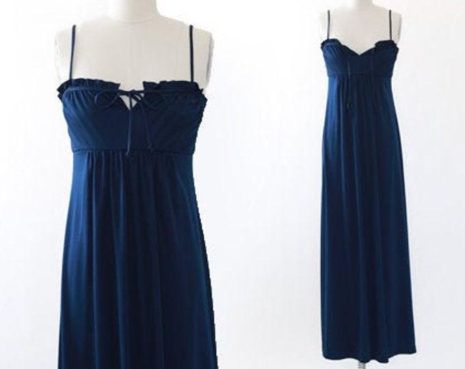 Vintage 70s blue maxi dress
