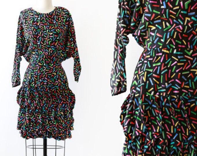 Rainbow silk dress | Vintage 80s silk confetti ruffle dress | Avant Garde batwing dress