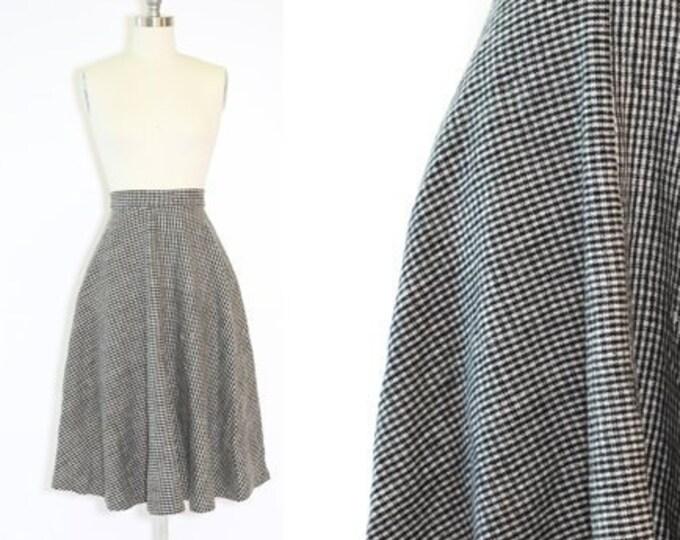 Gingham circle skirt | Vintage 50s wool full skirt XS