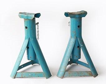 2 Car Jacks | Vintage 60s blue Metal Stabilizing Trailer Stands | 1960s Camper Stack Jacks |  Car Trailer jack Stands