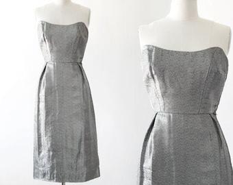 Lame bombshell dress | Vintage 50s silver metal lame bombshell dress | 1950s silver lame dress
