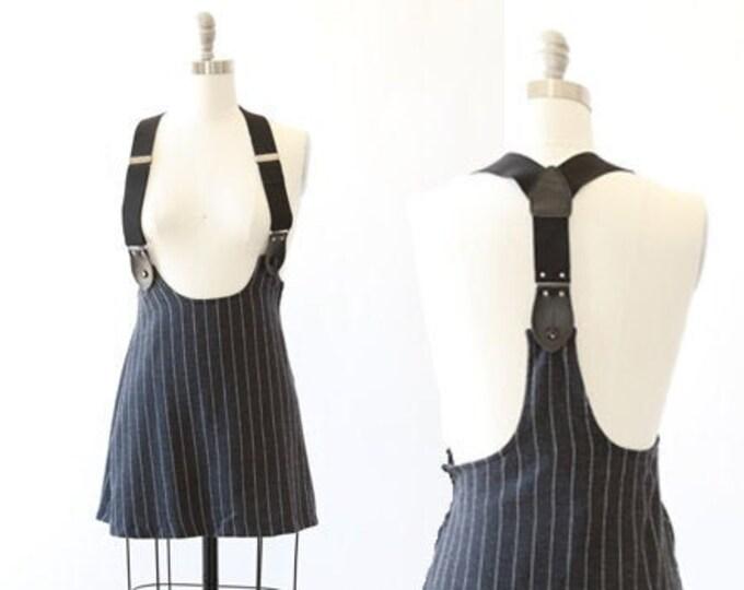 Tuxedo suspender skirt | Vintage 90s suspender clueless club Kid pinstripe mini skirt XS