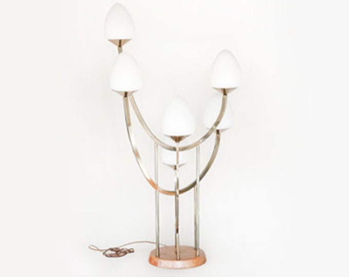Majestic Glass lamp | Vintage 50s Mid century Modern frosted Glass Table Lamp | Gold brass frosted egg lamp