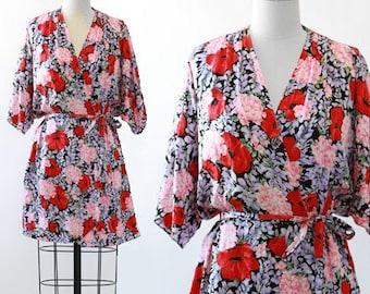 Silk floral robe   wedding robe   Bridesmaid robe   Bridal robe
