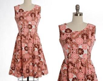 Floral pink dress   Vintage 50s floral barkcloth mini dress   1950s novelty print dress