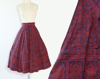 Batik ethnic skirt | Vintage 50s Indian cotton skirt | block print cotton 50s full circle skirt