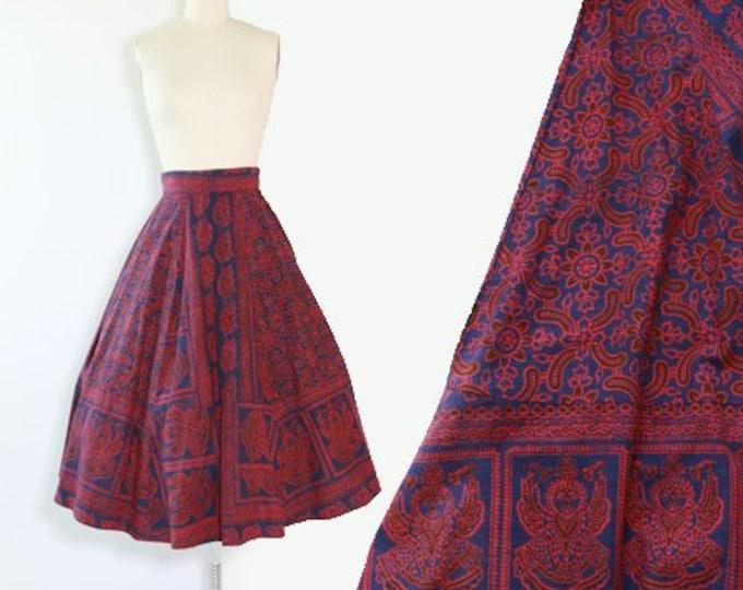 Batik ethnic skirt | Vintage 50s Indian cotton skirt | block print cotton 50s full circle skirt