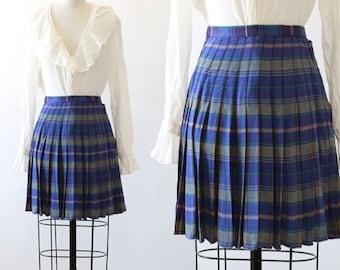 JouJou mini skirt | Vintage 40s 50s reversible plaid tartan mini school girl skirt
