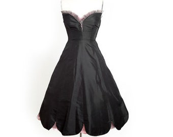 50s couture Seymour silk dress | Vintage 50s black silk scallop ruffle tulle dress | 1950s Couture Seymour Jacobson dress