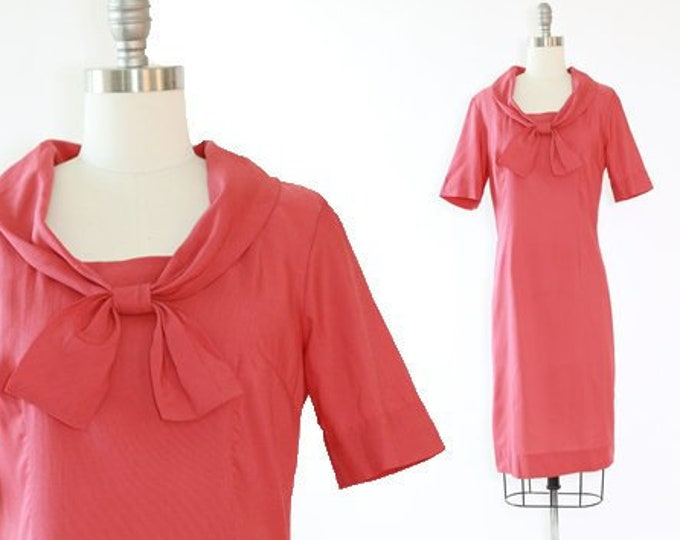 Sailor bow dress | Vintage 40s salmon silk dress