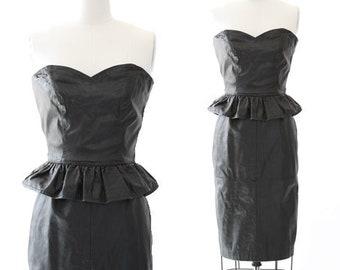 Peplum leather dress | Vintage 80s Black leather Dress | Rocker Biker pencil skirt dress
