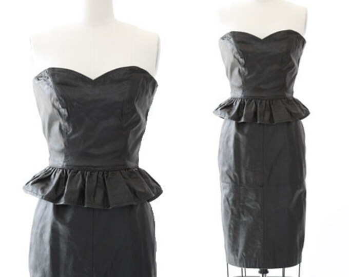 Peplum leather dress   Vintage 80s Black leather Dress   Rocker Biker pencil skirt dress