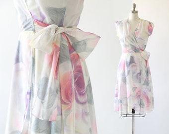 Watercolor rose dress | Vintage 70 floral rose wrap dress S