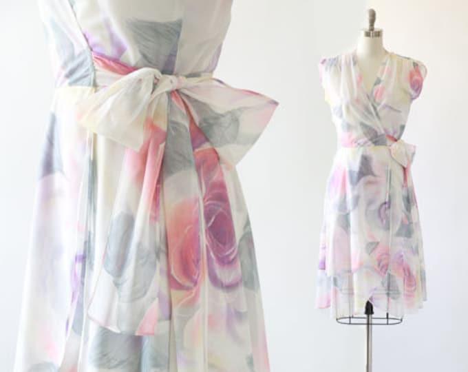 Watercolor rose dress   Vintage 70 floral rose wrap dress S