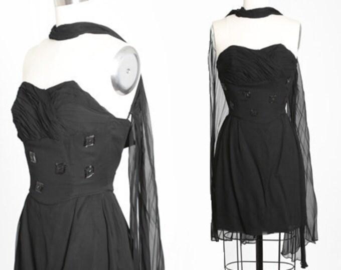 Featured listing image: Emma Domb silk dress | Vintage 50s Emma Domb black silk mini dress | Emma Domb jeweled cocktail dress