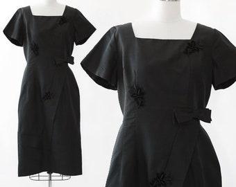 Petty Hite silk dress | Vintage 50s silk floral bow wiggle dress | Large 1950s dress