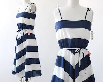Dottie striped dress | Vintage 70s 80s Chevron striped midi dress S | Deadstock dress