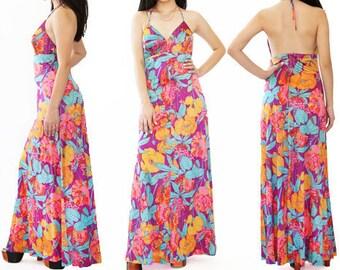 70s Hawaiian Maxi dress | Vintage 70s tropical floral Hawaiian Halter dress
