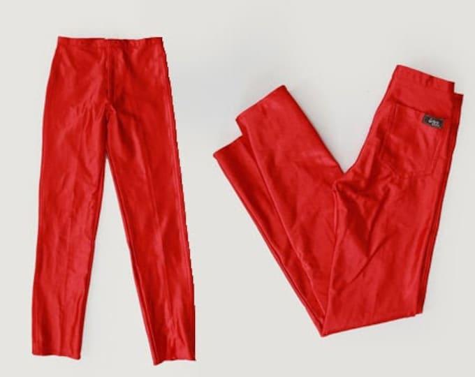 Grease Lighting pants | Vintage 70s red super skinny pants | 1970s lycra red stretch disco pants