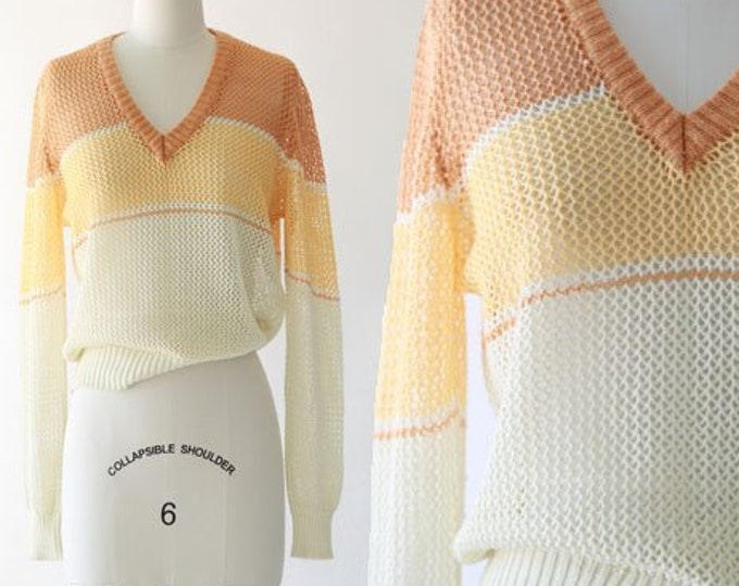 Rochelle net sweater | Vintage 70s striped knit sweater