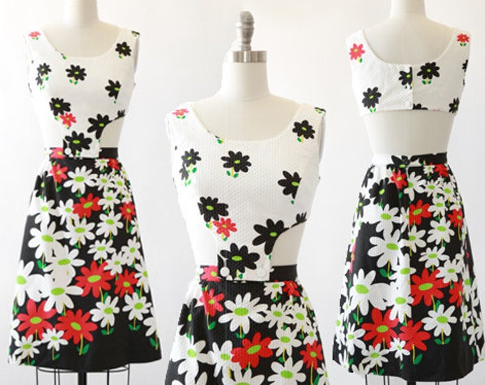 TORI RICHARD Hawaiian dress | Vintage 60s Tori Richard cutout dress | MOD floral mini dress